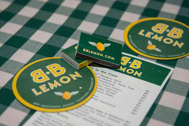 BB Lemon koozie and menu