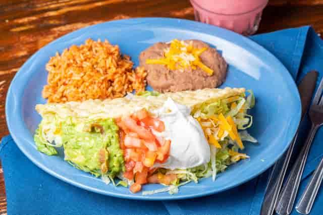 taco, rice, beans