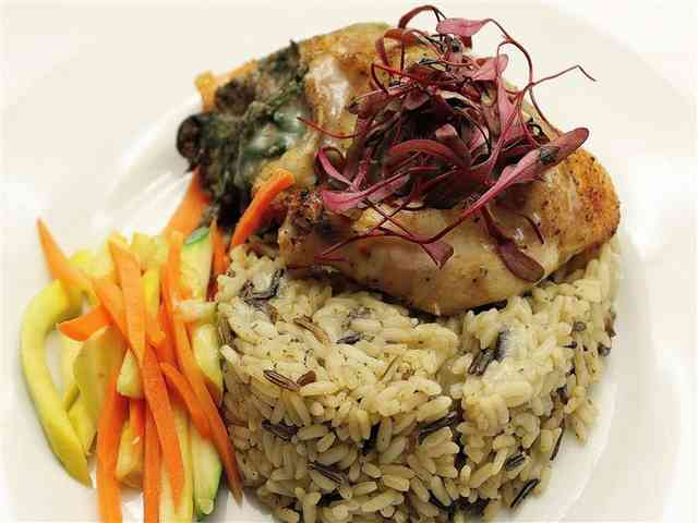 catered rice and fish dish