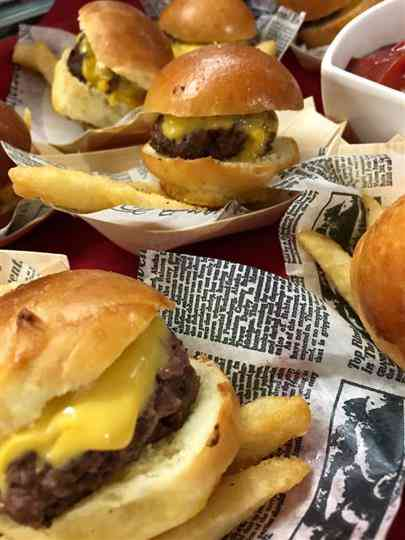 mini catered cheeseburgers