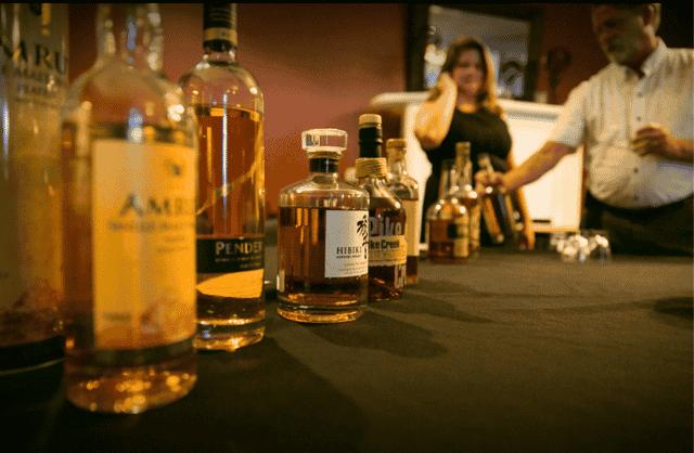 liquor bottles on table