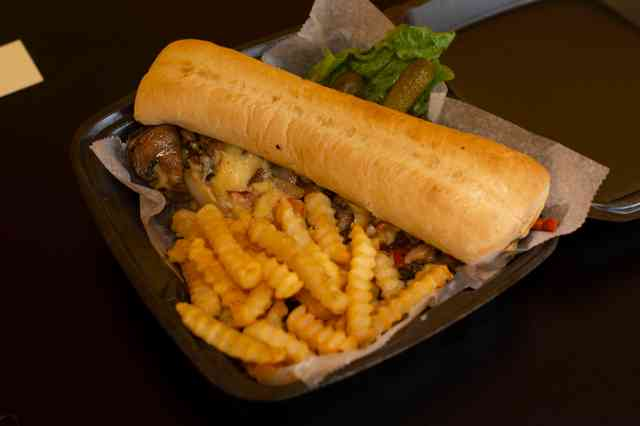 Philly Cheesesteak Sub and Fries