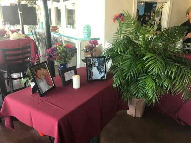 memorial table with plant