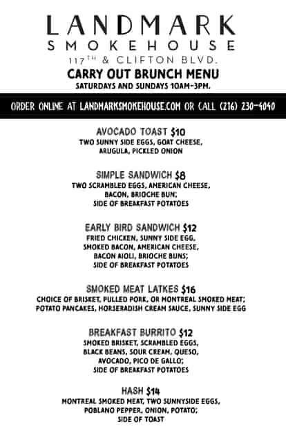Carry-out brunch menu