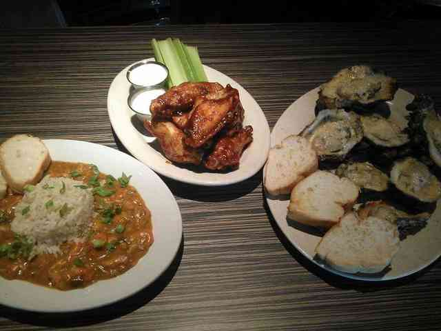 wings, oysters
