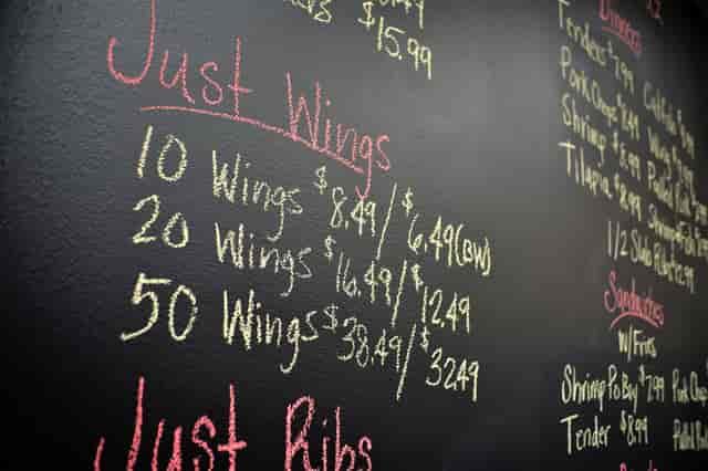 menu on chalk board