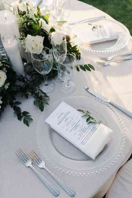 silver and clear place setting