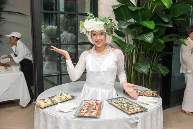 lady serving hors d'oeuvres