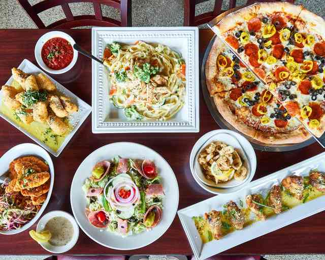 Pizza, Pasta, Salad, and Garlic Bread