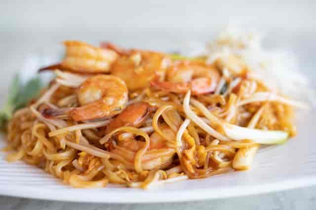 stock photo shrimp pad thai