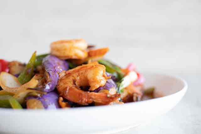 stock photo shrimp stirfry