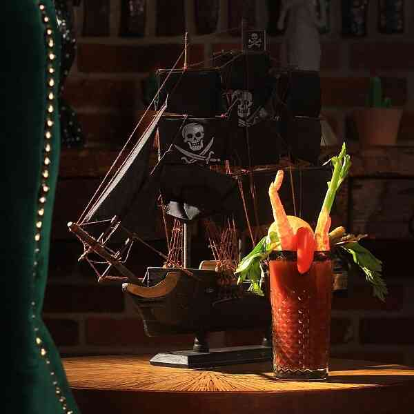 Bloody mary next to pirate ship