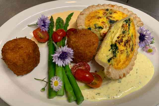 mother's day brunch. Crab cakes & quiche