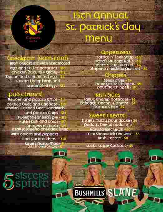 st. paddy's day menu