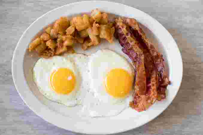#4 Two Eggs, Home Fries, Bacon, Ham or Sausage & Toast