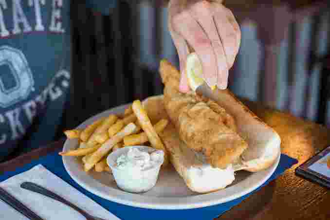 Fresh Fried Haddock Sandwich with Fries