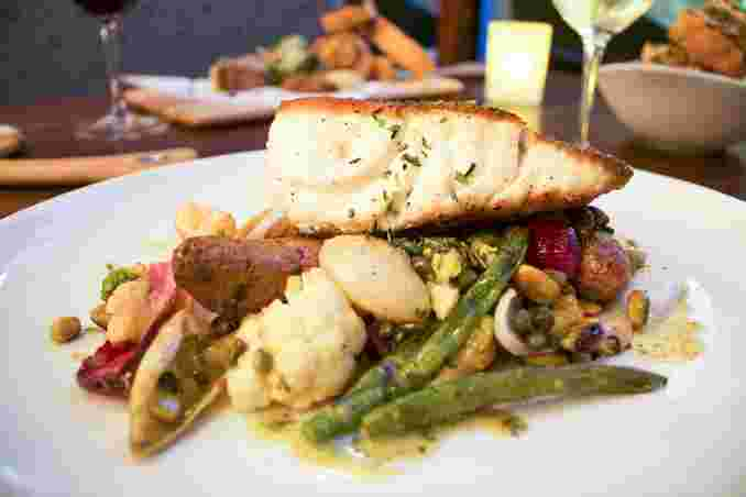 Wild Caught Pacific Sea Bass with vegetables