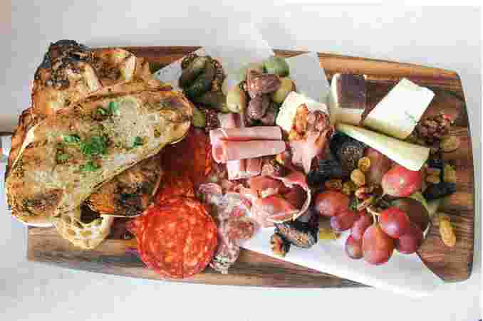 Overhead view of the Artisan Cheeses & Cured Meats Board