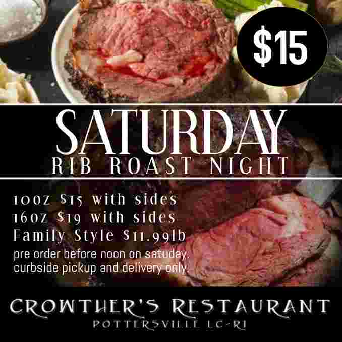 Rib Roast every Saturday! Delivery and Take-out only.