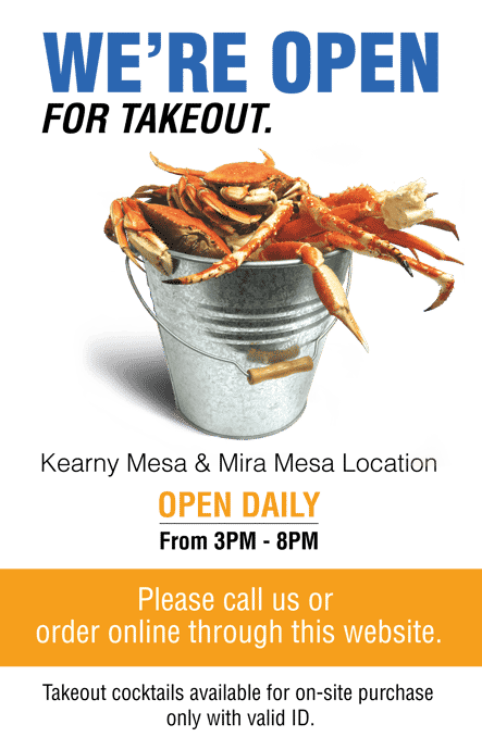 We're open for take out