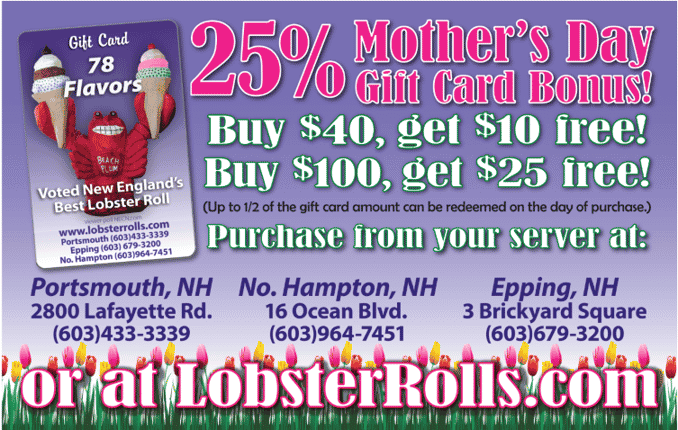 25% Gift Card Bonus! Buy $40, get $10 added free! Buy $100, get $25 added free! Ask your server! *Up to 1/2 of the gift card may be used on the day of your purchase. LobsterRolls.com
