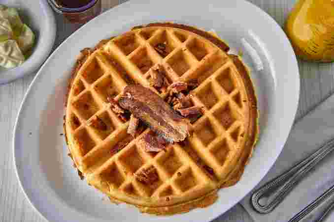 waffle with bacon