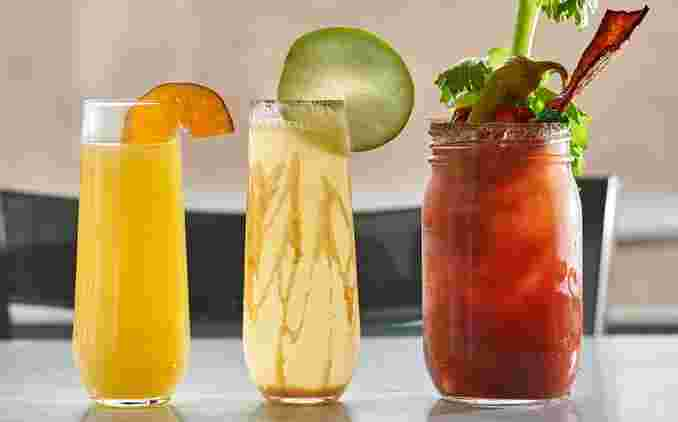 various colorful brunch drinks