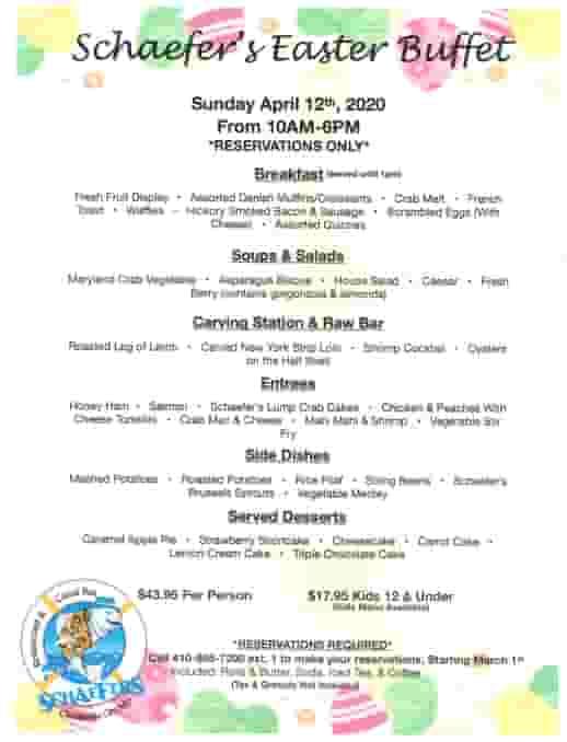 Schaefer's Canal House Easter Day Buffet Menu