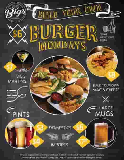 Build Your Own Burger Mondays Flyer