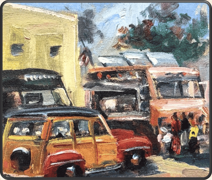painting of cars