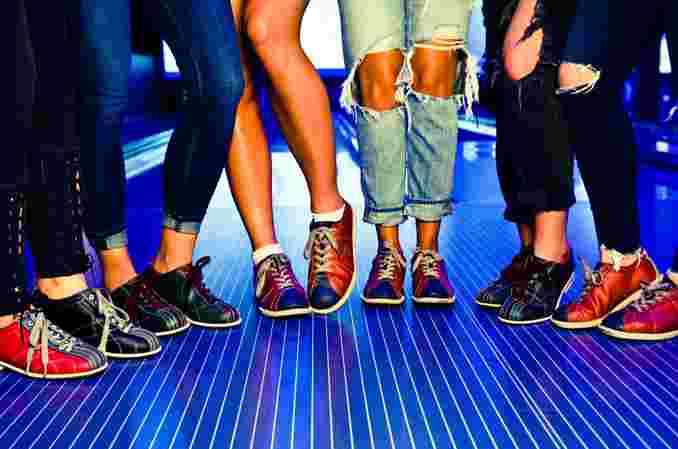 girls with bowling shoes