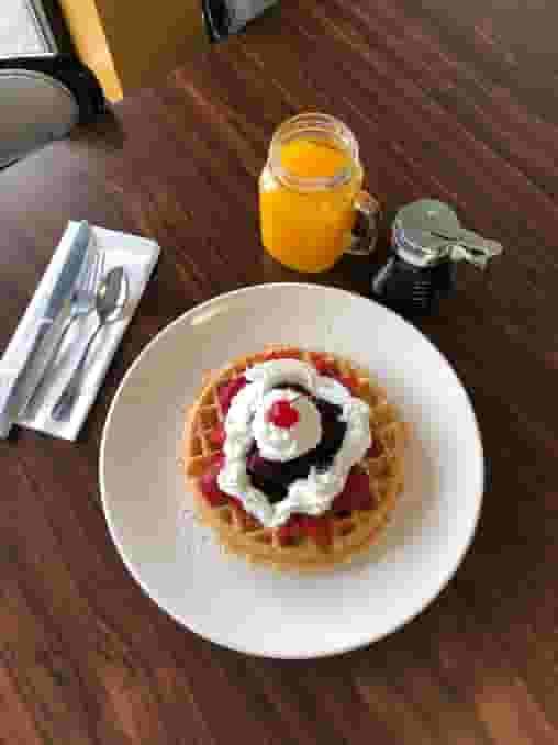 Golden-brown waffle