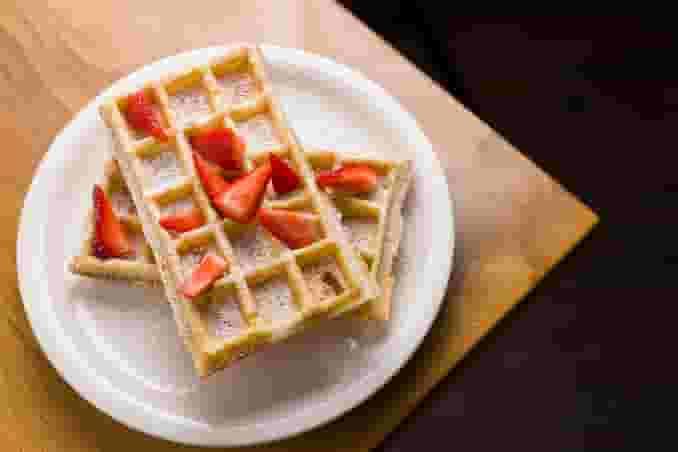 Waffles + Powdered Sugar + Strawberries