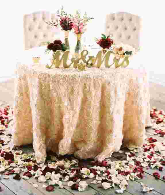 Cake Table or Sweetheart Table with Linen & In-House Decor