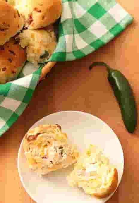 Fresh Baked Jalapeno Cheese Dinner Rolls