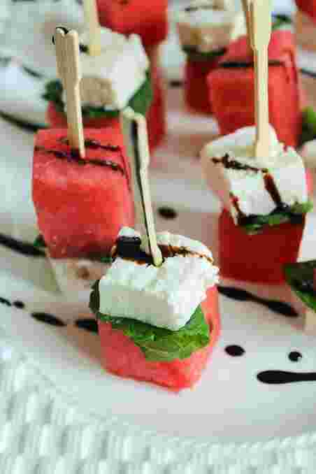 Watermelon, Mint Leaves, Feta Cheese, Drizzled with Balsamic