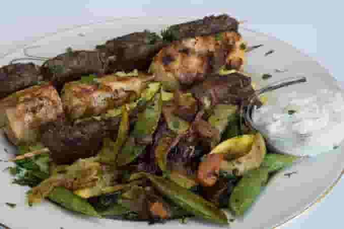 Souvlakia Combo with Lamb, Chicken, and Filet Mignon