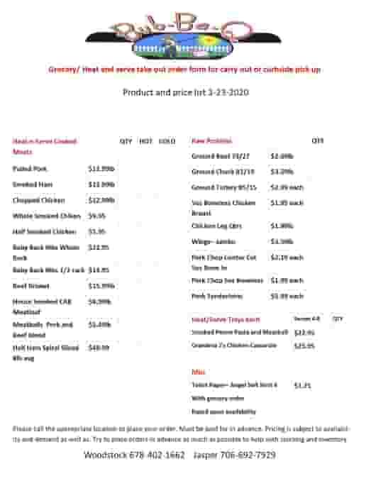 Grocery list menu