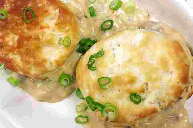 Andouille Sausage with Gravy and Buttermilk Biscuits