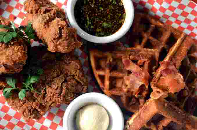 Chicken and Cornbread | Bacon Waffles with Chipotle Sorghum