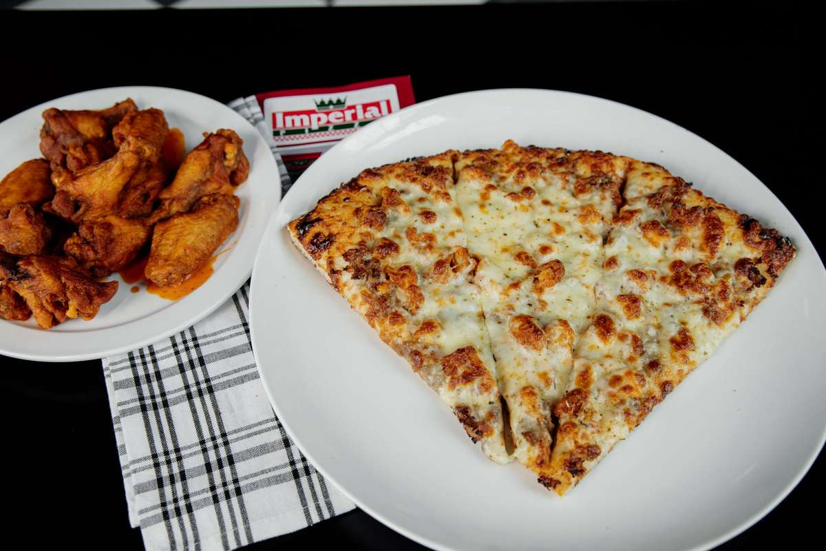 wings and cheese pizza