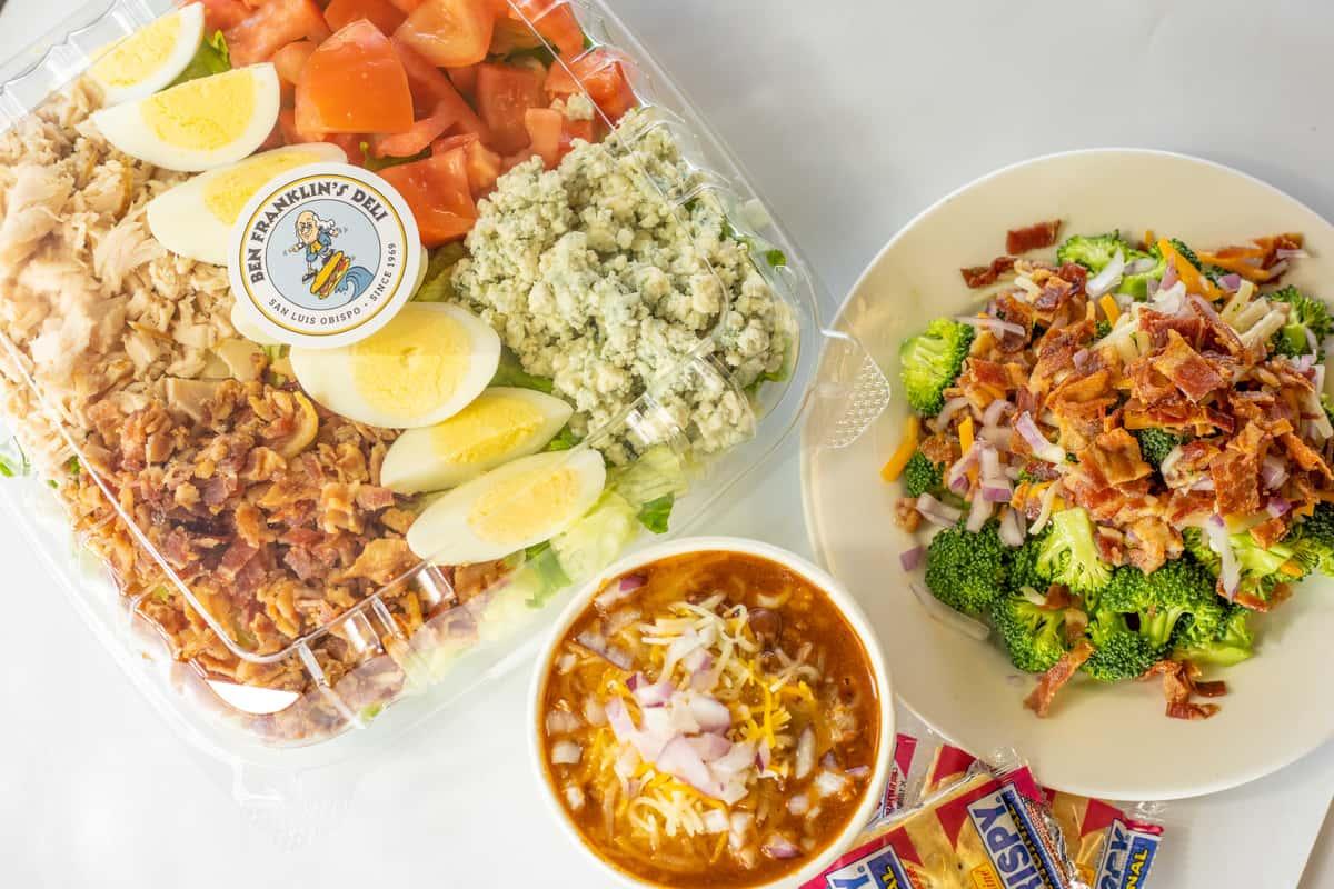 chef salad, chilli, and broccoli salad
