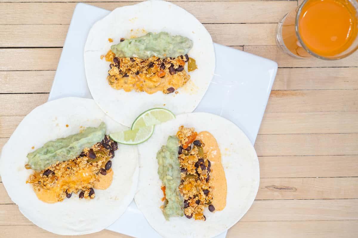 spicy tofu breakfast tacos