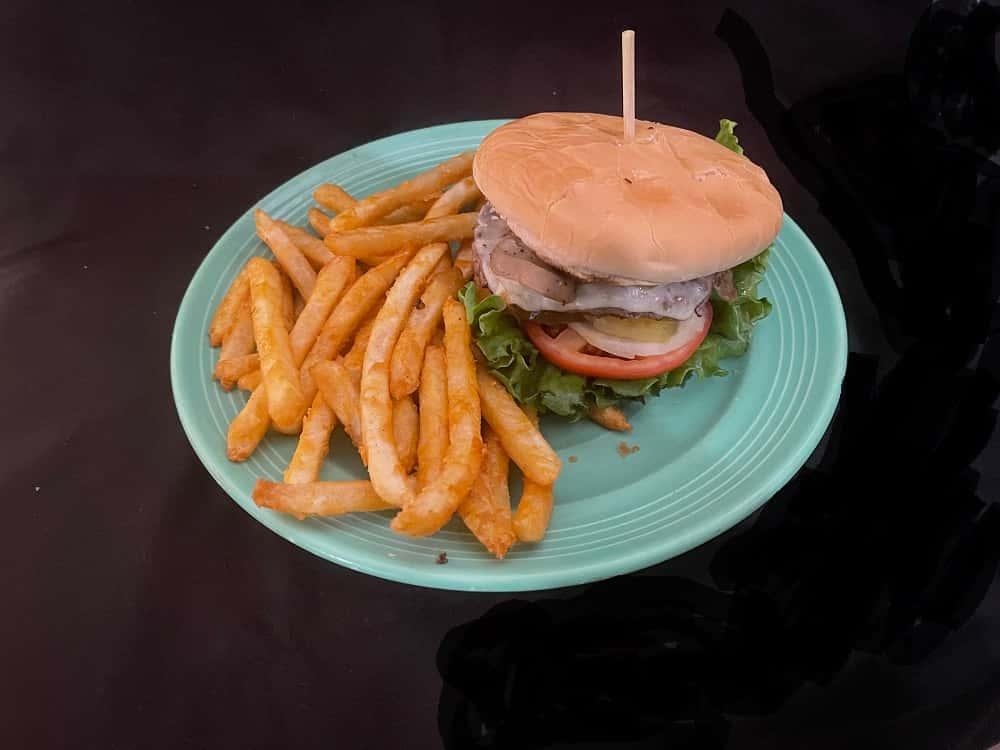Mushroom and Swiss Cheeseburger