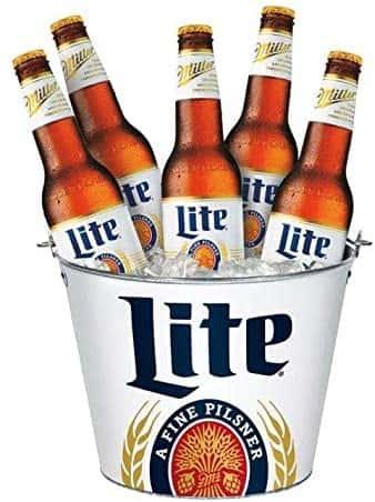 Buckets of Miller Lite Bottles