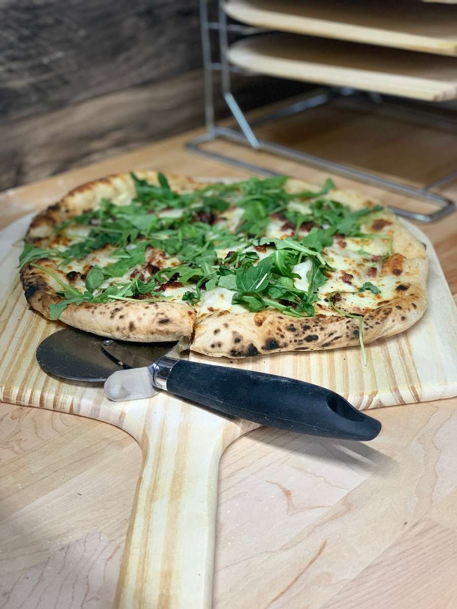 pizza with greens