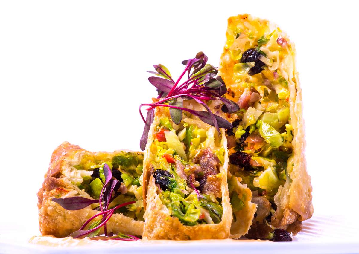 Jalapeno Bacon Roasted Brussel Sprout Egg Rolls