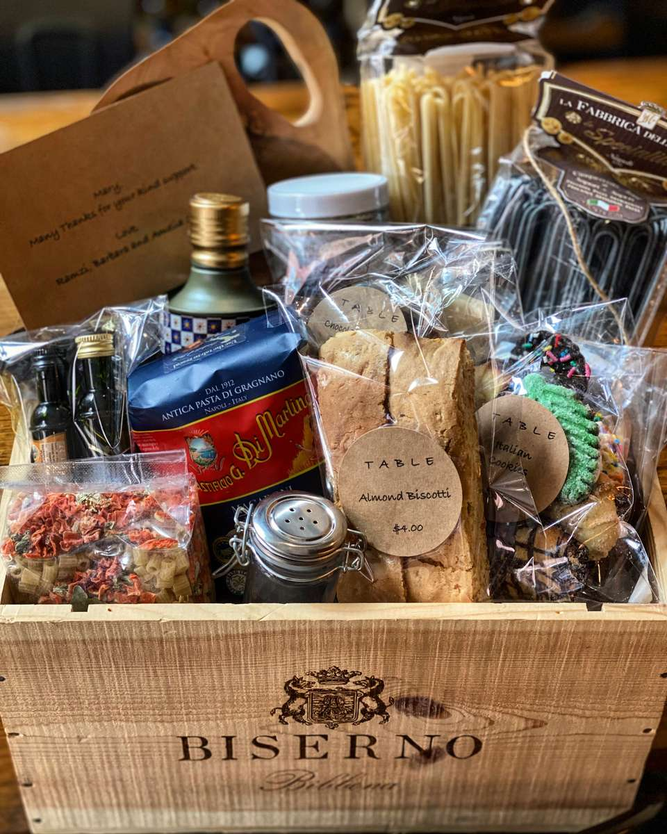 Wine crate gift basket