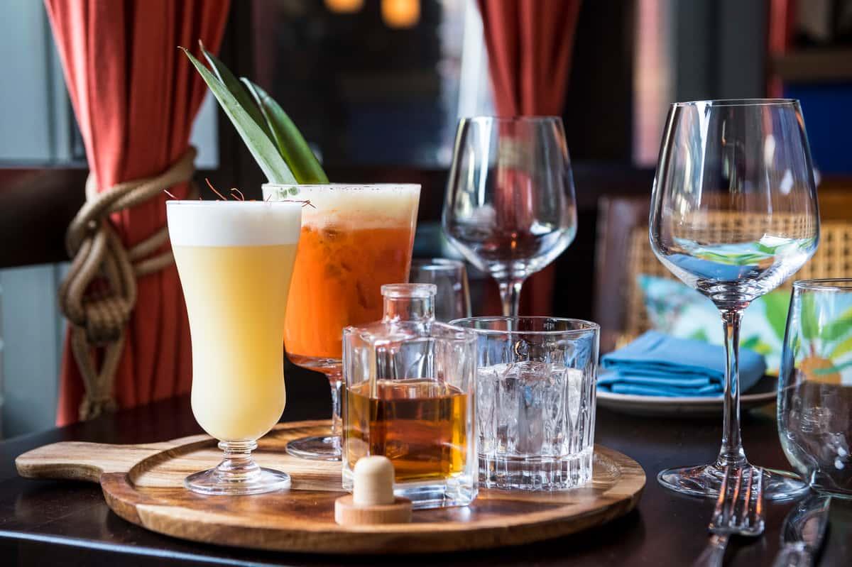 tray of mixed drinks