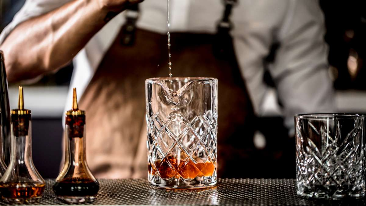 bartender making mixed drink